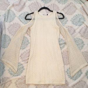 NastyGal x MinkPink Cream Bell-Sleeve Mini Dress